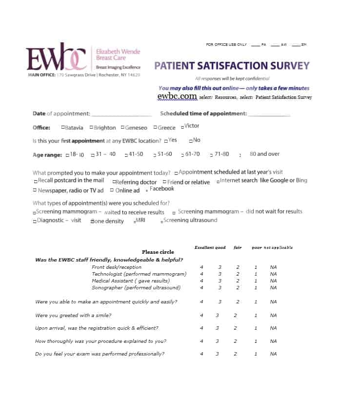 Patient Satisfaction Survey Template 31