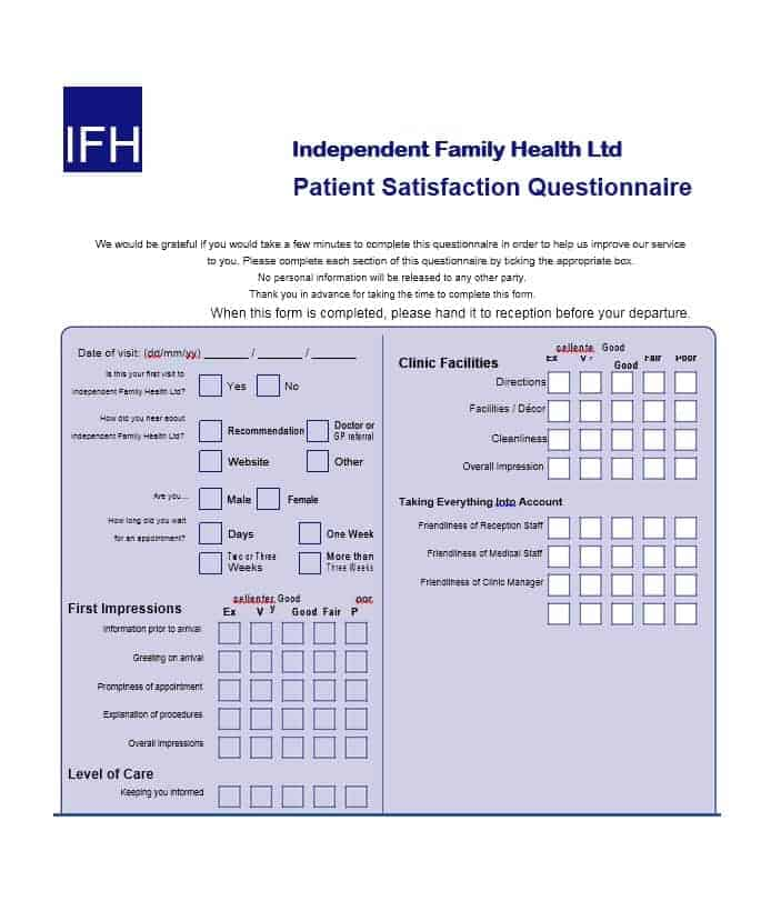 Patient Satisfaction Survey Template 44