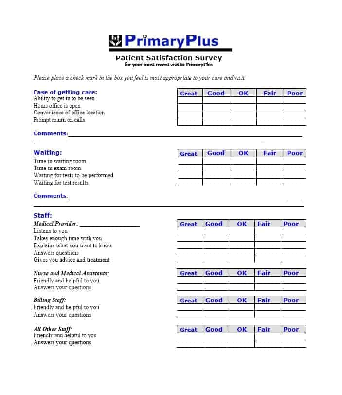Patient Satisfaction Survey Template 46