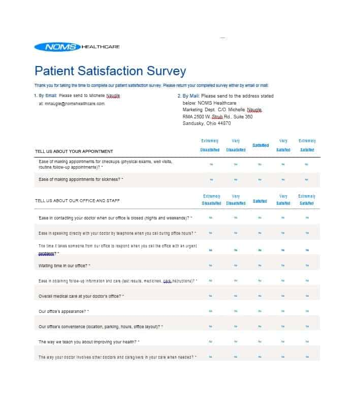 Patient Satisfaction Survey Template 49