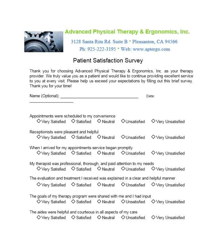 Patient Satisfaction Survey Template 52