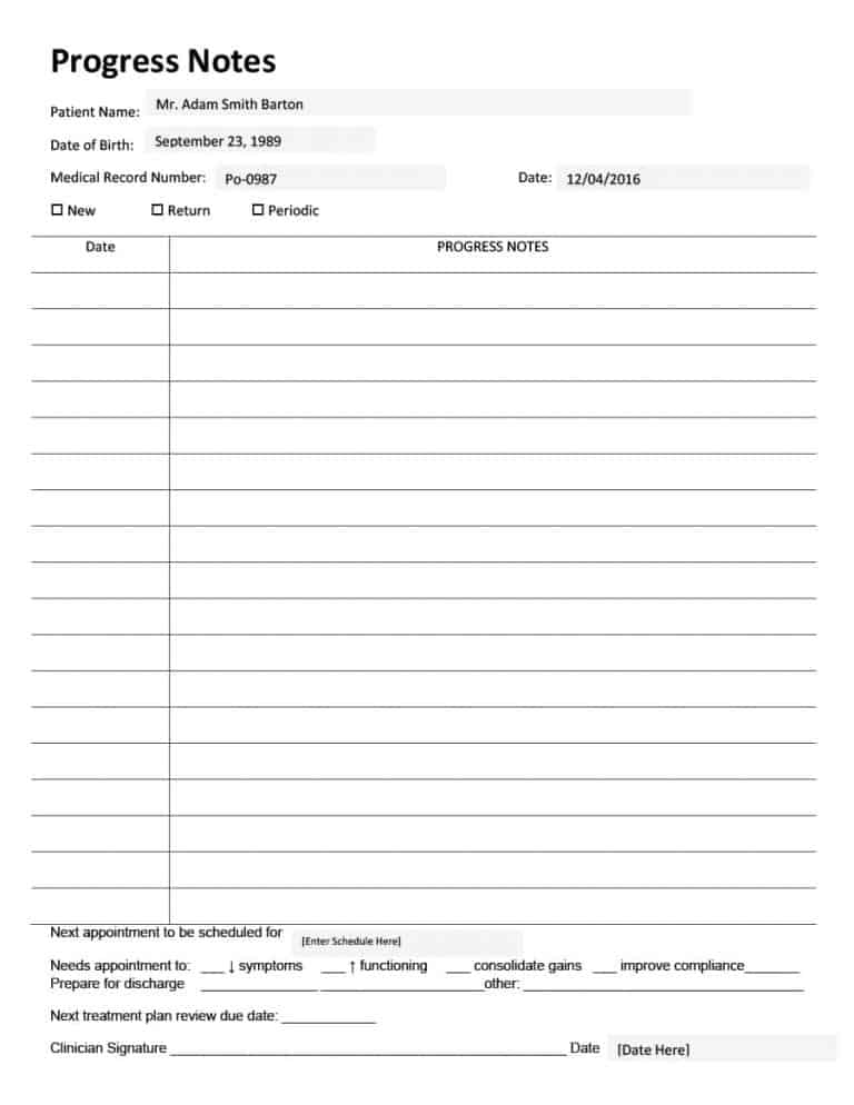 Progress Notes Templates Mental Health Psychotherapy Nursing
