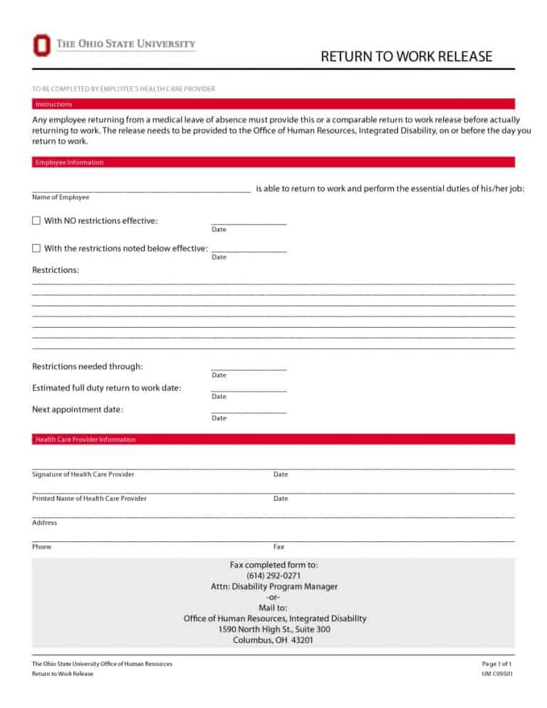 Return To Work  Work Release Forms  Printable Templates