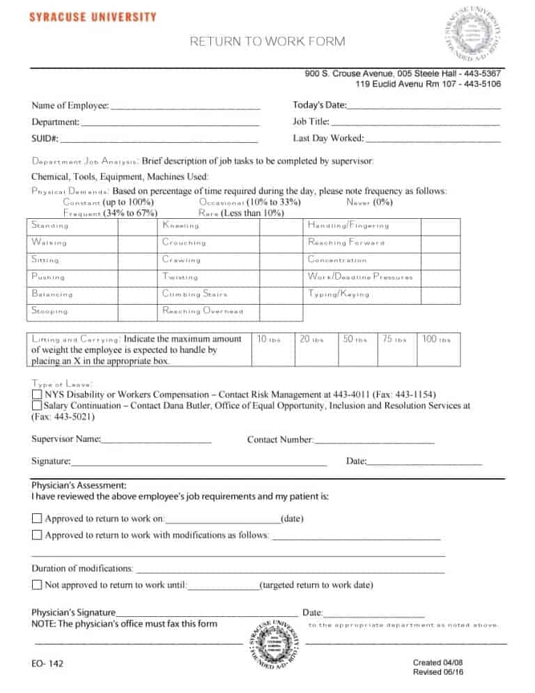 Work Release Form Template  Resume Ideas  NamanasaCom