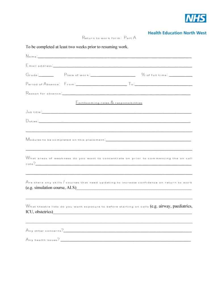 picture relating to Printable Return to Work Form named 44 Return toward Function Exertion Launch Kinds - Printable Templates