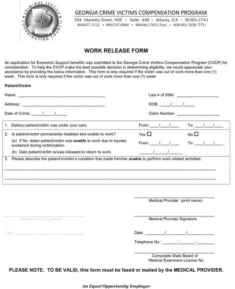 medical release form to return to work 44 Return to Work