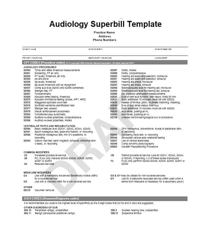 49 Superbill Templates (family practice, Physical Therapy ...