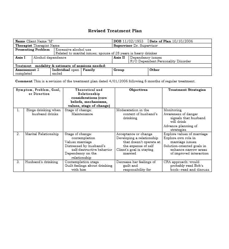 Treatment Plan Template  Resume Ideas  NamanasaCom
