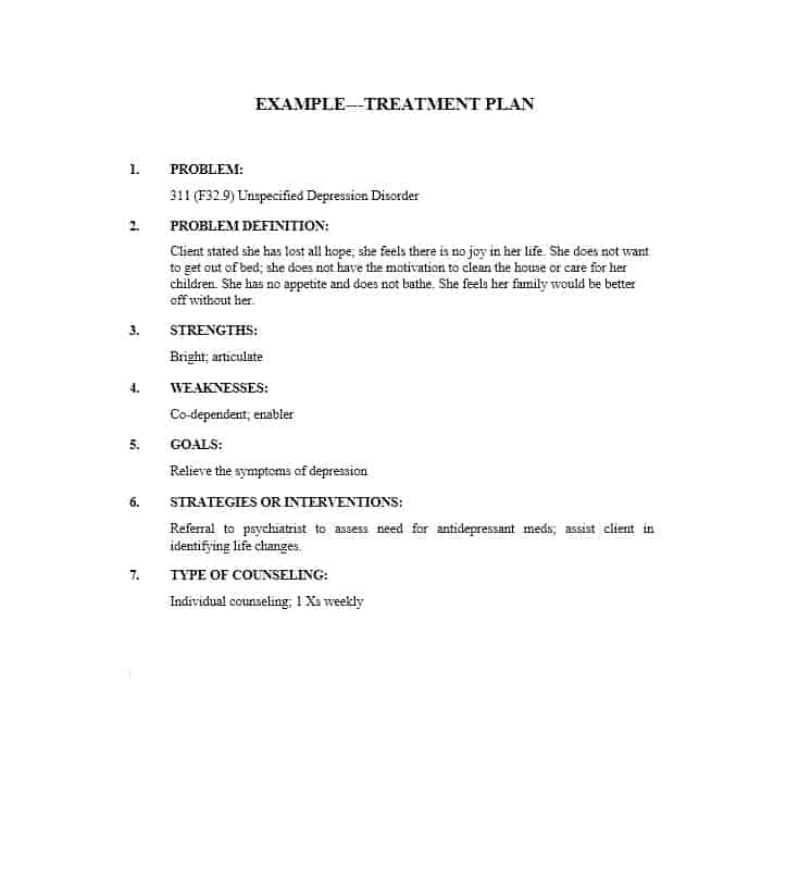 Treatment Plan Template 16