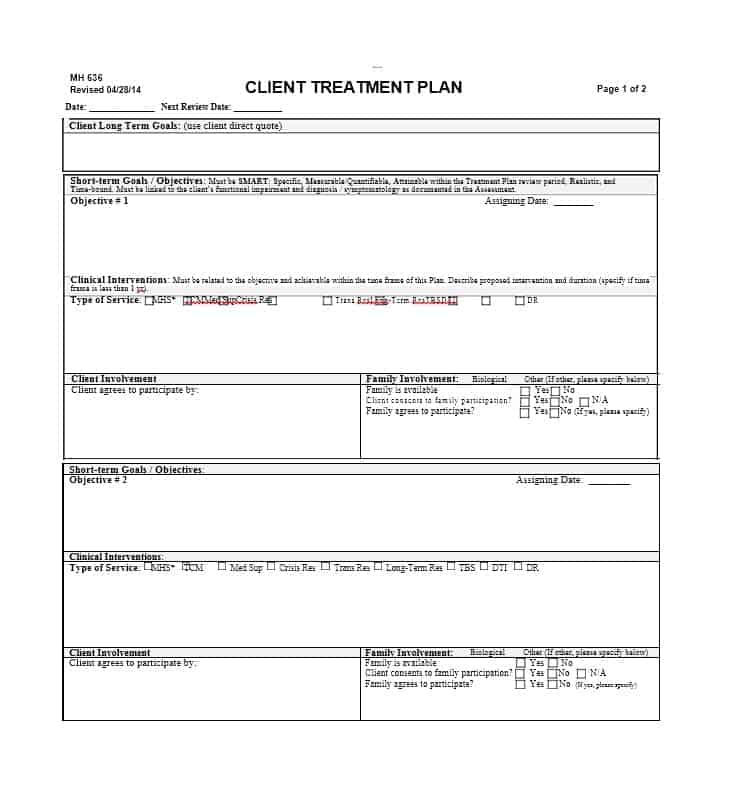 Treatment Plan Template 27