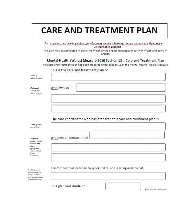 35 treatment plan templates mental dental chiropractic for Treatment plan template social work